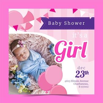 Modelo de convite de menina bebê chuveiro com imagem
