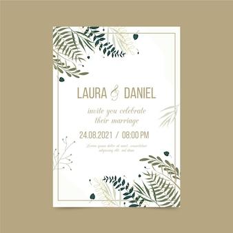 Modelo de convite de noivado com elementos elegantes