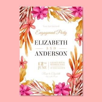 Modelo de convite de noivado com flores