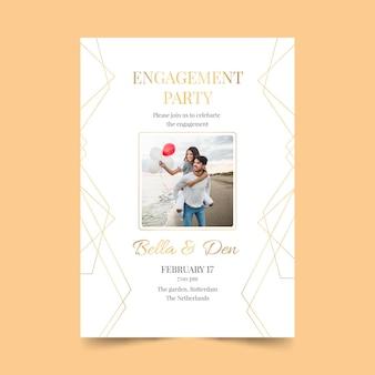 Modelo de convite de noivado com foto