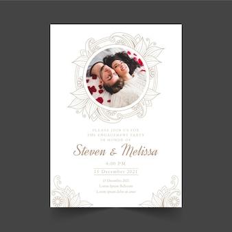Modelo de convite de noivado com imagem