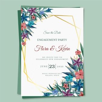 Modelo de convite de noivado com motivos florais
