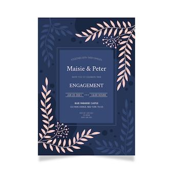 Modelo de convite de noivado com ornamentos elegantes