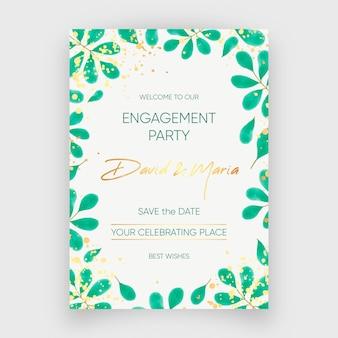 Modelo de convite de noivado com ornamentos florais