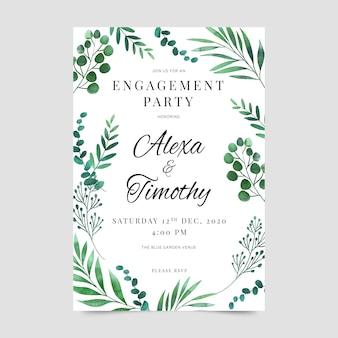Modelo de convite de noivado de design floral