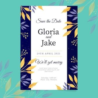 Modelo de convite de noivado elegante com folhas douradas