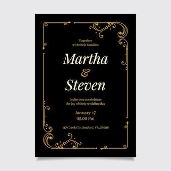 Modelo de convite de noivado elegante dourado preto