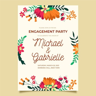 Modelo de convite de noivado floral