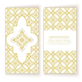 Modelo de convite de ornamento dourado