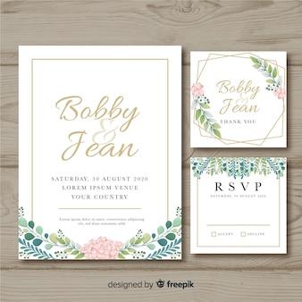 Modelo de convite de papelaria floral casamento