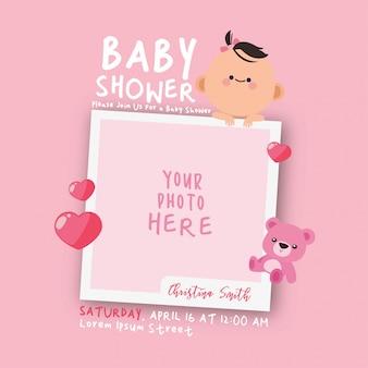 Modelo de convite do quadro de decorações de chuveiro de bebê kawaii
