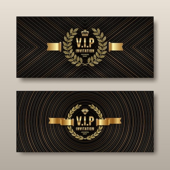 Modelo de convite dourado vip.