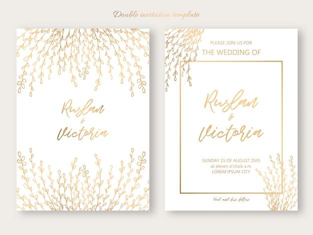 Modelo de convite duplo de casamento com elementos decorativos dourados. ilustração vetorial