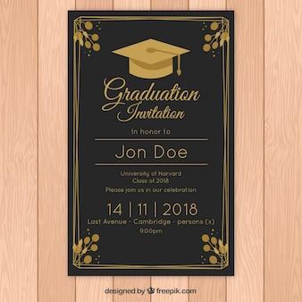 Modelo de convite elegante graduação com estilo dourado