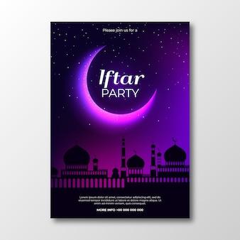 Modelo de convite iftar de design realista