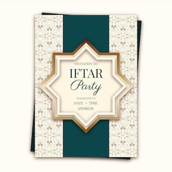 Modelo de convite iftar desenhado à mão