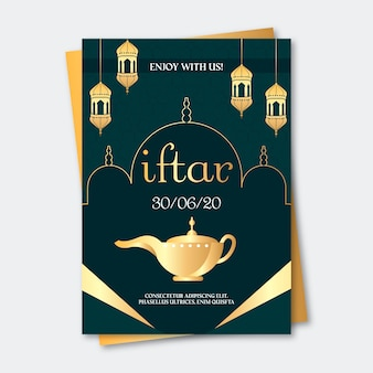 Modelo de convite iftar em design plano