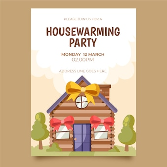 Modelo de convite ilustrado para inauguração de casa