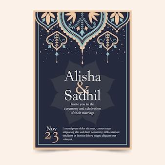 Modelo de convite indiano com elementos elegantes