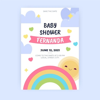 Modelo de convite para chá de bebê chuva de amor