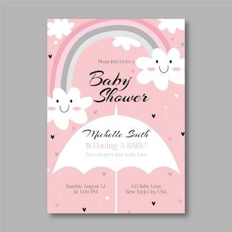 Modelo de convite para chá de bebê de amor desenhado à mão