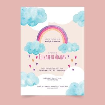 Modelo de convite para chá de bebê em aquarela chuva de amor