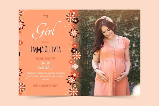 Modelo de convite para chá de bebê para design de menina