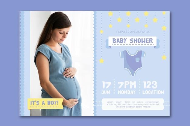 Modelo de convite para chá de bebê para tema de menino