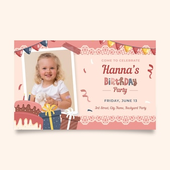 Modelo de convite para festa de aniversário