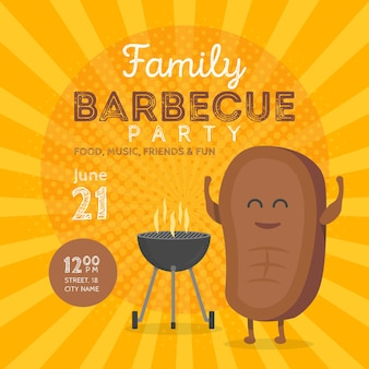 Modelo de convite para festa de churrasco em família. hora do churrasco do personagem bife bonito. ilustração retro do vetor do fundo.