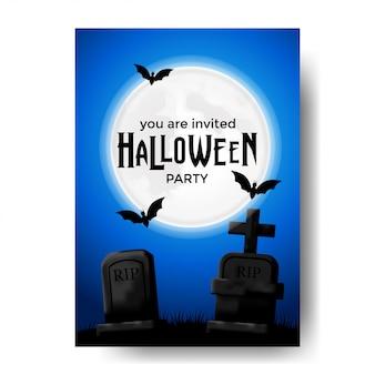 Modelo de convite para festa de halloween com sepultura