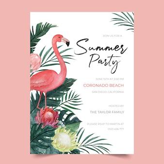 Modelo de convite para festa de verão com flamingo e ilustração floral tropical