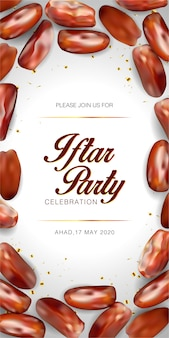 Modelo de convite para festa iftar. festival islâmico eid mubarak
