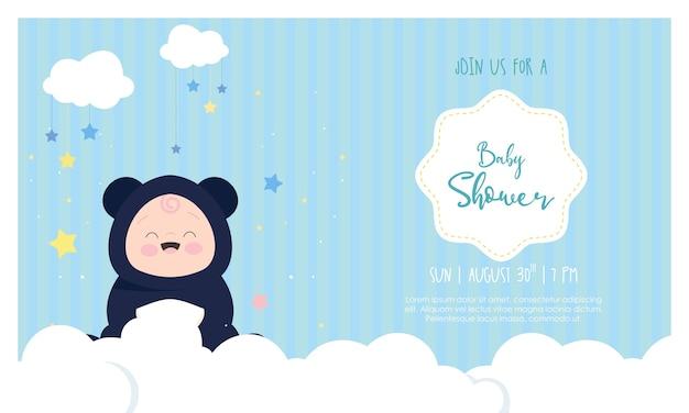 Modelo de convite para ilustração de design de chá de bebê de menino