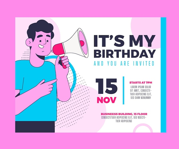 Modelo de convite plano de aniversário