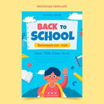 Modelo de convite plano de volta à escola