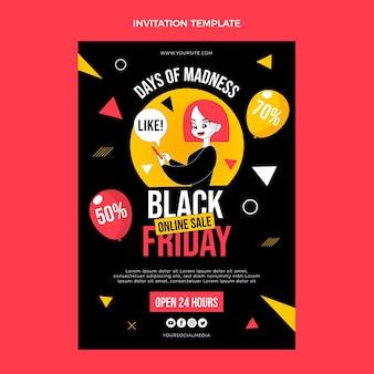 Modelo de convite preto liso desenhado à mão na sexta-feira