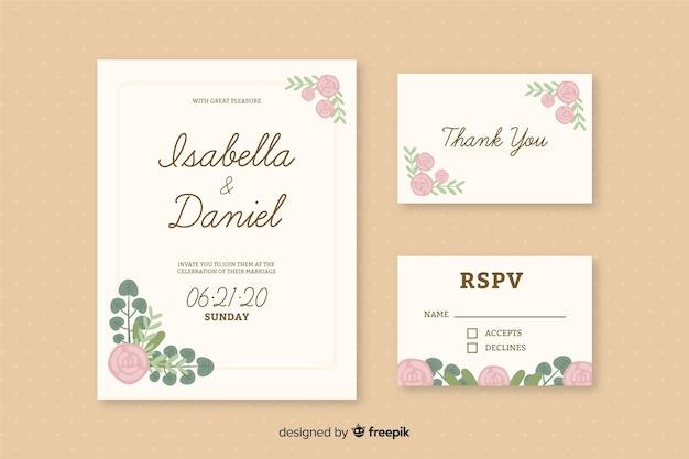 Modelo de convites de cartão de casamento romântico