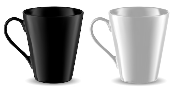 Modelo de copo preto e branco de caneca isolado
