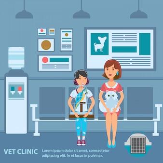 Modelo de cor de vetor de banner de fila de clínica veterinária