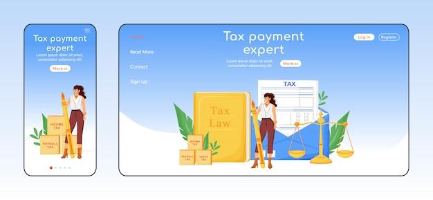 Modelo de cor plana de página de destino adaptável especialista em pagamento de impostos.