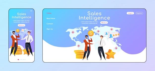 Modelo de cores da página de destino adaptável de inteligência de vendas. empresários apertem as mãos móveis e layout de página inicial do pc. o lucro aumenta a interface do usuário do site de uma página. página da web de parceria entre plataformas