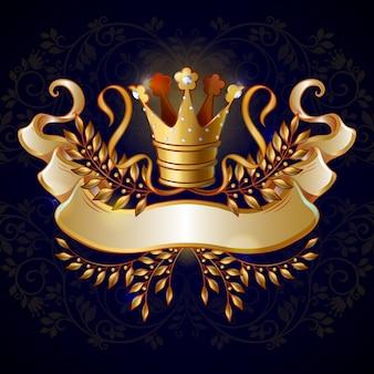 Modelo de coroa de ouro real de desenho animado