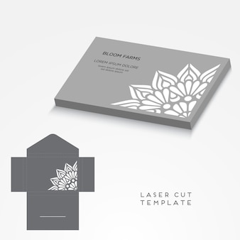 Modelo de corte a laser de cartão de casamento de vetor