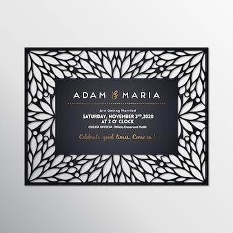 Modelo de corte a laser de cartão de casamento