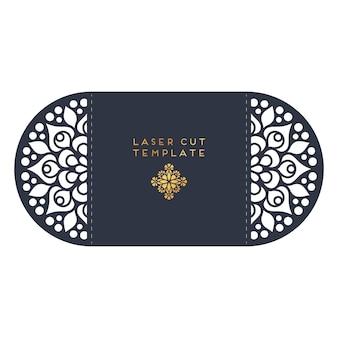 Modelo de corte a laser do cartão de casamento vector. elementos decorativos do vintage