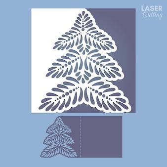 Modelo de corte de cartão de natal cortado a laser com árvore de natal.