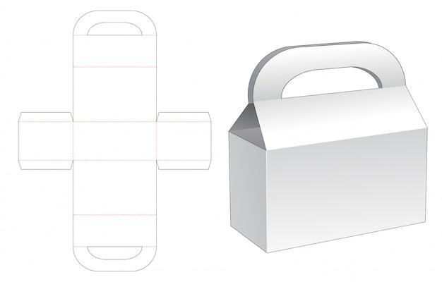 Modelo de corte e vinco de caixa de alças de papelão