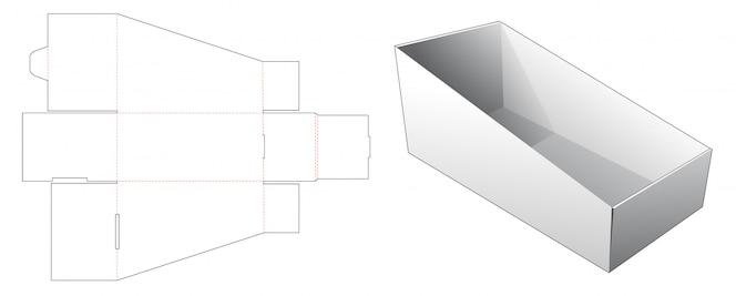 Modelo de corte e vinco de caixa de armazenamento de inclinação ondulada
