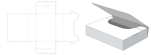 Modelo de corte e vinco de caixa de armazenamento dobrado